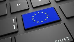 Το πληκτρολόγιο σημαιών της Ευρωπαϊκής Ένωσης εισάγει το κουμπί Στοκ φωτογραφία με δικαίωμα ελεύθερης χρήσης