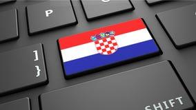 Το πληκτρολόγιο σημαιών της Κροατίας εισάγει το κουμπί Στοκ Φωτογραφίες
