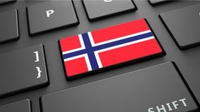 Το πληκτρολόγιο σημαιών της Νορβηγίας εισάγει το κουμπί Στοκ Εικόνα