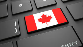 Το πληκτρολόγιο σημαιών του Καναδά εισάγει το κουμπί Στοκ Φωτογραφίες