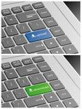 Το πληκτρολόγιο lap-top με φορτώνει και μεταφορτώνει τα κουμπιά Στοκ Φωτογραφία