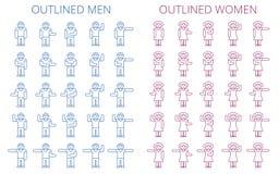 Το ραβδί λογαριάζει το σύνολο εικονιδίων Περιγραμμένο εικονόγραμμα των ανδρών και των γυναικών απεικόνιση αποθεμάτων