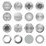 Το ρεαλιστικό τρισδιάστατο λεπτομερές μέταλλο βιδώνει και κεφάλια καθορισμένα διάνυσμα διανυσματική απεικόνιση