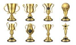 Χρυσά βραβεία Το ρεαλιστικό φλυτζάνι τροπαίων, τρισδιάστατο σχέδιο βραβείων διαγωνισμού, έννοια αθλητικής ανταμοιβής, κερδίζουν κ διανυσματική απεικόνιση