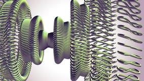 Το ρευστό κινούμενο περιστρεφόμενο πράσινο μάτι αλυσίδων μετάλλων περιβάλλει την άνευ ραφής βρόχων νέα ποιότητα υποβάθρου γραφική απεικόνιση αποθεμάτων