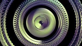 Το ρευστό κινούμενο περιστρεφόμενο χρυσό μάτι αλυσίδων μετάλλων περιβάλλει την άνευ ραφής βρόχων νέα ποιότητα υποβάθρου γραφικής  απόθεμα βίντεο