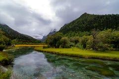 Το ρεύμα περνά τα βουνά και τα λιβάδια στην επιφύλαξη φύσης Yading Στοκ Φωτογραφίες