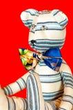 Το ριγωτό χειροποίητο υφαντικό tilda Teddy της Προβηγκίας αντέχει το παιχνίδι Στοκ Εικόνα