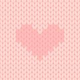 Το ροζ έπλεξε το άνευ ραφής σχέδιο με την καρδιά διανυσματική απεικόνιση