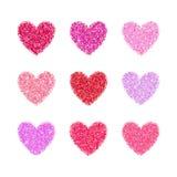 Το ροζ ακτινοβολεί μορφή καρδιών ημέρας βαλεντίνων Διανυσματικό υπόβαθρο για τη γαμήλια πρόσκληση, ευχετήρια κάρτα Γοητευτικό σπι Στοκ Εικόνες