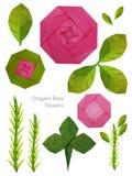 Το ροζ εγγράφου Origami αυξήθηκε σύνολο Στοκ Εικόνες