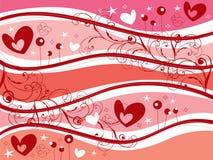το ροζ καρδιών στροβιλίζ&ep Στοκ Εικόνα