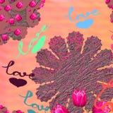 Το ροζ καρδιών αγάπης ανθίζει το εορταστικό σχέδιο επιγραφής χεριών Στοκ Φωτογραφία