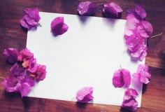 Το ροζ της Λευκής Βίβλου ανθίζει την ξύλινη άποψη υπολογιστών γραφείου Στοκ φωτογραφίες με δικαίωμα ελεύθερης χρήσης