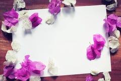 Το ροζ της Λευκής Βίβλου ανθίζει την ξύλινη άποψη υπολογιστών γραφείου Στοκ εικόνα με δικαίωμα ελεύθερης χρήσης