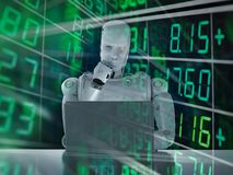 Το ρομπότ αναλύει το απόθεμα διανυσματική απεικόνιση