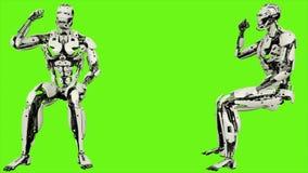 Το ρομπότ αρρενωπό είναι αντιδρά συναισθηματικά και η πυγμή κυμάτων ρεαλιστική περιτυλίχτηκε κίνηση στο πράσινο υπόβαθρο οθόνης 4 απόθεμα βίντεο
