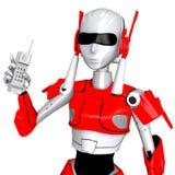 Το ρομπότ θέτει παρουσιάζει τηλέφωνο Στοκ φωτογραφία με δικαίωμα ελεύθερης χρήσης