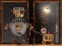 Το ρομπότ και το σκυλί ρομπότ πηγαίνουν για έναν περίπατο Στοκ Εικόνα