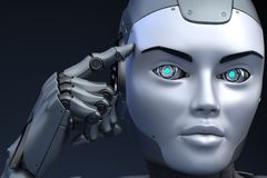 Το ρομπότ κρατά ένα δάχτυλο κοντά στο κεφάλι ελεύθερη απεικόνιση δικαιώματος