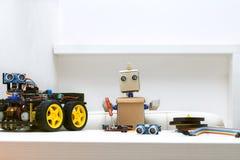 Το ρομπότ κρατά ένα κατσαβίδι στα χέρια του για να συγκεντρώσει το ρομπότ Στοκ Φωτογραφία