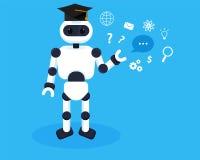 Το ρομπότ μαθαίνει τις νέες πληροφορίες Έννοια απεικόνισης εκμάθησης μηχανών Τα ρομπότ συλλέγουν τη γνώση διανυσματική απεικόνιση
