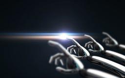 Το ρομπότ παραδίδει το μαύρες υπόβαθρο και τη ακτίνα λέιζερ Στοκ Εικόνα
