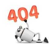 Το ρομπότ στηρίζεται και εκμετάλλευση τους αριθμούς 404 - μην βριαλμένη σελίδων λάθος 404 διανυσματική απεικόνιση