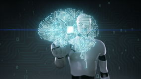 Το ρομπότ cyborg σχετικά με συνδεδεμένο τον εγκέφαλος πίνακα κυκλωμάτων τσιπ ΚΜΕ, αυξάνεται την τεχνητή νοημοσύνη απεικόνιση αποθεμάτων