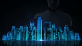 Το ρομπότ, cyborg σχετικά με την οθόνη, ορίζοντας πόλεων οικοδόμησης κατασκευής και κάνει την πόλη στη ζωτικότητα μπλε των ακτίνω ελεύθερη απεικόνιση δικαιώματος