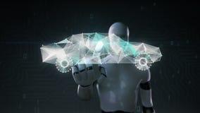 Το ρομπότ, cyborg σχετικά με την οθόνη, ψηφιακές γραμμές δημιουργεί την ηλεκτρονική μορφή αυτοκινήτων, ψηφιακή έννοια μελλοντικό