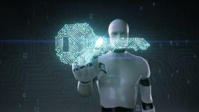 Το ρομπότ cyborg σχετικά με τη μορφή του κλειδιού, ελαφριά γραμμή πινάκων κυκλωμάτων, τεχνολογική ασφάλεια, αυξάνεται την τεχνητή ελεύθερη απεικόνιση δικαιώματος