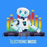 Το ρομπότ DJ οδηγεί το κόμμα που παίζει την ηλεκτρο μουσική στη μίξη της κονσόλας στο διάνυσμα λεσχών νύχτας απομονωμένη ωθώντας  διανυσματική απεικόνιση