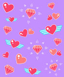 Το δροσερό φωτεινό διαμάντι καρδιών διαμορφώνει τα σύγχρονα εικονίδια Απεικόνιση αποθεμάτων
