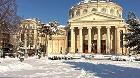 Το ρουμανικό Athenaeum George Enescu ( Ateneul Roman)  Στο Βουκουρέστι απόθεμα βίντεο