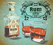 Το ρούμι ήταν χύνει σε δύο γυαλιά με το μπουκάλι στο shabby υπόβαθρο διανυσματική απεικόνιση