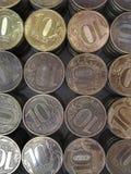 Το ρωσικό νόμισμα κάθετο πλαίσιο δέκα ρουβλιών στοκ εικόνα με δικαίωμα ελεύθερης χρήσης