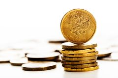 Το ρωσικό νόμισμα ρουβλιών Στοκ Εικόνες