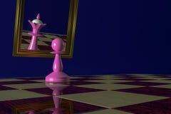 Το ρόδινο ενέχυρο κοιτάζει στον καθρέφτη και βλέπει τη βασίλισσα στην αντανάκλαση Έννοια: μεγαλομανία, ηλιθιότητα, όνειρα, που γυ στοκ εικόνες