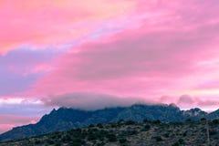 Το ρόδινο ηλιοβασίλεμα καλύπτει τη μεγάλη κάμψη NP Τέξας ΗΠΑ στοκ εικόνες