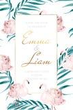 Το ρόδινο φλαμίγκο γαμήλιων καρτών αυξήθηκε φύλλα φοινικών λουλουδιών απεικόνιση αποθεμάτων