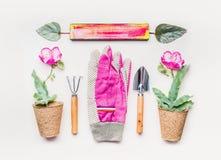Το ρόδινο επίπεδο εξοπλισμού κηπουρικής βάζει για τη φύτευση, το βοτάνισμα, την περικοπή με τα εργαλεία κήπων, τις εγκαταστάσεις  Στοκ φωτογραφία με δικαίωμα ελεύθερης χρήσης