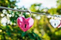 Το ρόδινο διαμορφωμένο καρδιά λουκέτο αγάπης κρεμά στο καλώδιο στο υπόβαθρο θαμπάδων Στοκ εικόνες με δικαίωμα ελεύθερης χρήσης