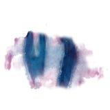 Το ρόδινο μπλε splatter μελανιού watercolour βάφει την υγρή σύσταση κηλίδων σημείων watercolor μακρο που απομονώνεται στο άσπρο υ Στοκ Εικόνα