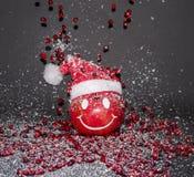 Το ρόδι χαμόγελου, καλή χρονιά, παντρεύει τα Χριστούγεννα Στοκ Εικόνες