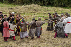 Το ρόλος-παίζοντας παιχνίδι αναδημιουργεί τις μάχες του μογγόλος-Mongol-Tatar ζυγού στην περιοχή Kaluga της Ρωσίας στις 10 Σεπτεμ Στοκ Εικόνες