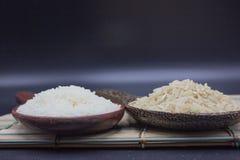 Το ρύζι και jasmine το ρύζι υποβάλλουν τις κουτάλες Στοκ φωτογραφίες με δικαίωμα ελεύθερης χρήσης