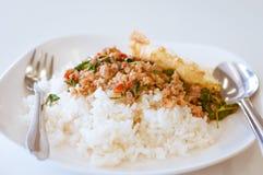 Το ρύζι που ολοκληρώνονται με το ανακατώνω-τηγανισμένο χοιρινό κρέας και ο βασιλικός γεμίζουν επίσης krapaw kaidaw Στοκ Φωτογραφία
