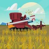 Το ρύζι συνδυάζει τη θεριστική μηχανή αγρόκτημα - ελεύθερη απεικόνιση δικαιώματος