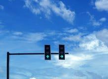 Το σήμα πράσινου φωτός στο δρόμο διατομής στην Ταϊλάνδη, προχωρά ομο Στοκ Φωτογραφίες